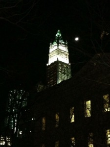 paper moon, woolworth building, woolworth building at night, architecture, new york architecture, architecture at night