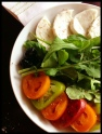 buffala mozzarella and tomato salad with arugula